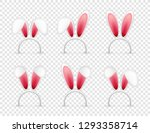 easter bunny ears. pink and...   Shutterstock .eps vector #1293358714