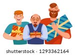 different men received gifts... | Shutterstock .eps vector #1293362164