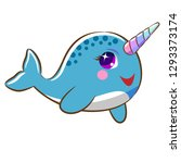 narwhal clipart vector | Shutterstock .eps vector #1293373174