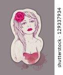vector fashion illustration.... | Shutterstock .eps vector #129337934