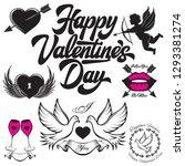 set of vector patterns for love ... | Shutterstock .eps vector #1293381274