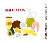 food with healthy fats and oils ... | Shutterstock .eps vector #1293408514