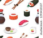 sushi menu seamless vector... | Shutterstock .eps vector #1293410137