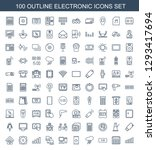 100 electronic icons. trendy... | Shutterstock .eps vector #1293417694
