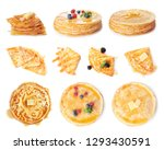 set of tasty thin pancakes with ... | Shutterstock . vector #1293430591