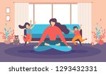 mother meditating at home ... | Shutterstock .eps vector #1293432331