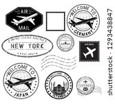 travel stamps and postmarks.... | Shutterstock . vector #1293438847