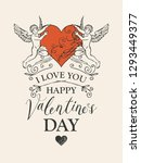 valentine card on the theme of... | Shutterstock .eps vector #1293449377