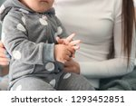 cute baby girl with mother at... | Shutterstock . vector #1293452851