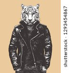 portrait of tiger in leather... | Shutterstock .eps vector #1293454867