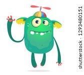 funny monster kid wearing hat... | Shutterstock .eps vector #1293480151
