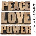 peace  love  power words  ... | Shutterstock . vector #129349877