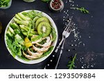 buddha bowl dish with chicken... | Shutterstock . vector #1293509884