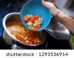 the shredded vegetables pouring ...   Shutterstock . vector #1293536914