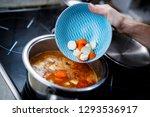 the shredded vegetables pouring ...   Shutterstock . vector #1293536917