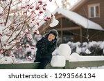 little cute boy is having fun... | Shutterstock . vector #1293566134