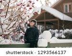 little cute boy is having fun... | Shutterstock . vector #1293566137