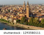 Cityscape of Verona with the church of St. Anastasia (1290-1471) and the medieval tower of Lamberti (XI century - 84 m.). UNESCO world heritage site - Veneto, Italy