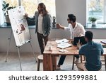 going over business details.... | Shutterstock . vector #1293599881