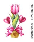 flower with decorative hearts...   Shutterstock . vector #1293602707