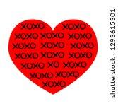 red heart icon. xoxo phrase... | Shutterstock .eps vector #1293615301