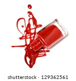 Red Nail Polish Bottle With...