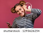 teen hipster girl with funny... | Shutterstock . vector #1293626254