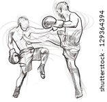 muay thai  combat martial art... | Shutterstock . vector #129364394