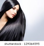 hair. beautiful brunette girl.... | Shutterstock . vector #129364595