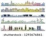 seamless townscape set  vector...   Shutterstock .eps vector #1293676861