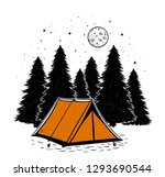 Orange Tent In The Forest With...