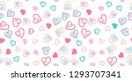 hand drawn hearts   seamless... | Shutterstock .eps vector #1293707341