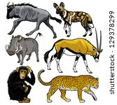 set with animals of africa... | Shutterstock .eps vector #129378299