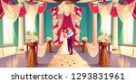 happy bride and groom hugging ... | Shutterstock .eps vector #1293831961