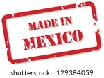 Red rubber stamp vector of Made In Mexico - stock vector