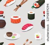 sushi menu seamless vector... | Shutterstock .eps vector #1293859294