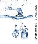 Ice Cubes Splash In Water...