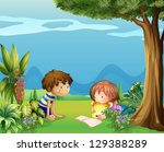 illustration of a boy with a... | Shutterstock .eps vector #129388289