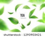 Green Tea. Tea Leaves Whirl In...
