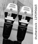 Paired parking meter - stock photo
