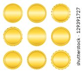 set of golden labels on white... | Shutterstock .eps vector #129391727