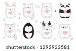 vector line drawing collection... | Shutterstock .eps vector #1293923581