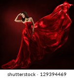 Woman In Red Waving Dress...