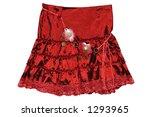 Children's clothing red short skirt isolated on white background - stock photo