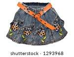 Children's clothing gray blue girl jeans mini skirt with orange belt and flower pattern isolated - stock photo