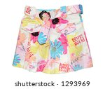 Children's clothing light white colorful girl jeans mini skirt isolated on white background - stock photo