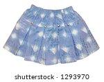 Children's clothing light blue girl jeans mini skirt isolated on white background - stock photo