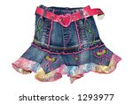 Children's clothing blue girl jeans mini skirt with pink belt isolated on white background - stock photo