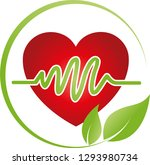 heart with heartbeat and leaves ... | Shutterstock .eps vector #1293980734