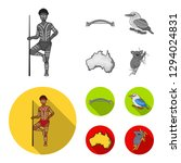 aborigine with a spear  sydney... | Shutterstock . vector #1294024831